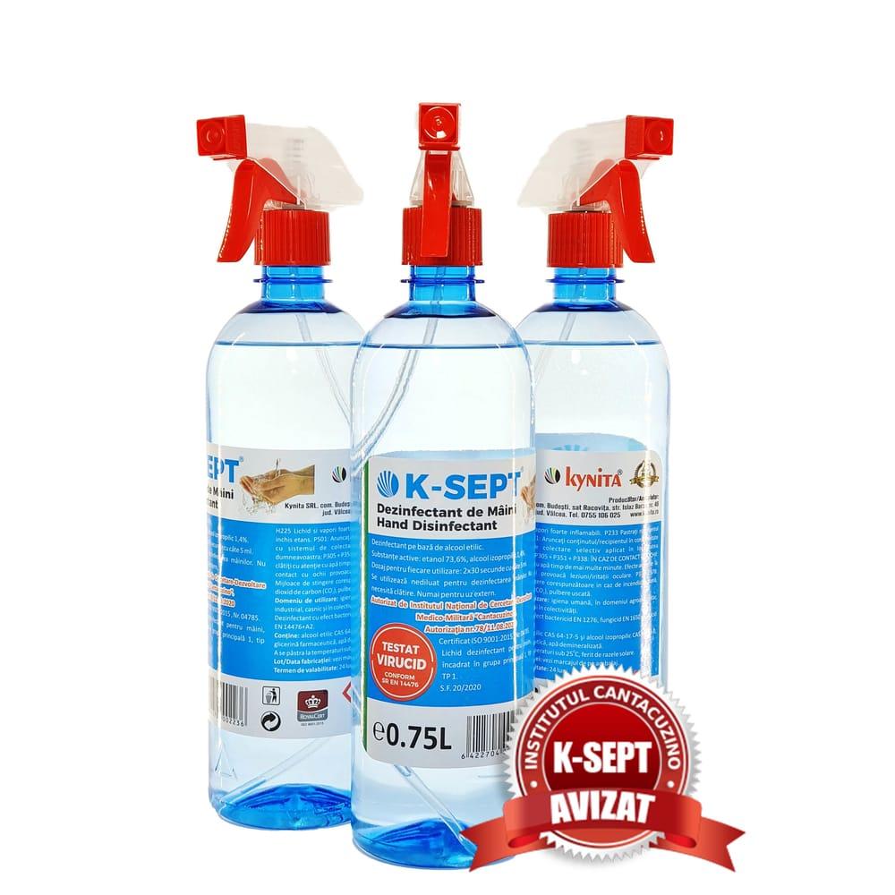 Dezinfectant de Maini K-SEPT 0.75L cu Pulverizator